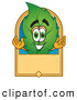 Stock Cartoon of a Grinning Leaf Mascot Cartoon Character with a Blank Tan Label by Toons4Biz
