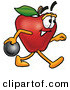 Stock Cartoon of a Grinning Red Apple Character Mascot Holding a Bowling Ball by Toons4Biz