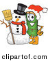Stock Cartoon of a Happy and Festive Green Carpet Mascot Cartoon Character with a Snowman on Christmas by Toons4Biz