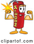 Stock Cartoon of a Happy and Smiling Dynamite Mascot Cartoon Character Flexing His Arm Muscles by Toons4Biz