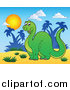 Stock Cartoon of a Happy Apatosaurus Dinosaur in a Tropical Landscape by Visekart