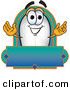 Stock Cartoon of a Happy Blimp Mascot Cartoon Character with a Blank Blue Label by Toons4Biz
