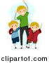 Stock Cartoon of a Happy Blond White Dad and Sons Cheering for a Football Game by BNP Design Studio