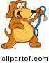 Stock Cartoon of a Happy Brown Dog Mascot Cartoon Character Holding a Leash, Ready for a Walk by Toons4Biz