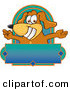 Stock Cartoon of a Happy Brown Dog Mascot Cartoon Character with Open Arms Above a Blank Label by Toons4Biz