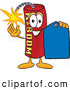 Stock Cartoon of a Happy Dynamite Mascot Cartoon Character Holding a Blue Sales Price Tag by Toons4Biz