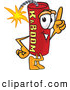Stock Cartoon of a Happy Dynamite Mascot Cartoon Character Pointing Upwards by Toons4Biz