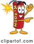 Stock Cartoon of a Happy Dynamite Mascot Cartoon Character Waving and Pointing by Toons4Biz