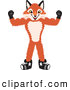 Stock Cartoon of a Happy Fox Mascot Cartoon Character Flexing His Arm Muscles by Toons4Biz