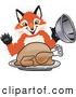 Stock Cartoon of a Happy Fox Mascot Cartoon Character Serving a Thanksgiving Turkey on a Platter by Toons4Biz