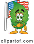 Stock Cartoon of a Happy Leaf Mascot Cartoon Character Pledging Allegiance to an American Flag by Toons4Biz