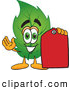 Stock Cartoon of a Happy Leaf Mascot Cartoon Character Red Clearance Sales Price Tag by Toons4Biz