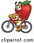 Stock Cartoon of a Happy Red Apple Character Mascot Riding a Bicycle Left by Toons4Biz