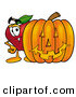 Stock Cartoon of a Happy Red Apple Character Mascot Standing with a Carved Jackolantern Halloween Pumpkin by Toons4Biz