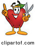 Stock Cartoon of a Helpful Nutritious Red Apple Character Mascot Holding a Pair of Scissors by Toons4Biz