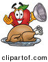 Stock Cartoon of a Hungry and Smiling Red Apple Character Mascot with a Cooked Thanksgiving Turkey on a Platter by Toons4Biz