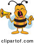 Stock Cartoon of a Loud Bumblebee Mascot Cartoon Character Screaming into a Megaphone by Toons4Biz