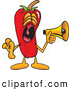 Stock Cartoon of a Loud Chili Pepper Mascot Cartoon Character Screaming into a Megaphone by Toons4Biz