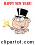 Stock Cartoon of a New Year Baby Holding a Sparkler by Hit Toon