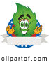 Stock Cartoon of a Patriotic Leaf Mascot Cartoon Character with Stars and a Blank Label by Toons4Biz