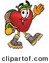 Stock Cartoon of a Red Apple Character Mascot Hiking and Carrying a Backpack and Walking Right by Toons4Biz