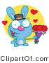 Stock Cartoon of a Romantic Blue Rabbit with Hearts by Hit Toon