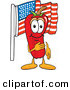 Stock Cartoon of a Smiling Chili Pepper Mascot Cartoon Character Pledging Allegiance to the American Flag by Toons4Biz