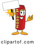 Stock Cartoon of a Smiling Dynamite Mascot Cartoon Character Holding a Blank Sign by Toons4Biz