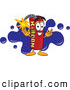 Stock Cartoon of a Smiling Dynamite Mascot Cartoon Character with a Blue Paint Splatter by Toons4Biz