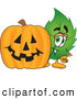 Stock Cartoon of a Smiling Leaf Mascot Cartoon Character with a Halloween Pumpkin by Toons4Biz