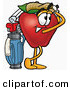 Stock Cartoon of a Smiling Red Apple Character Mascot Swinging His Golf Club While Golfing by Toons4Biz