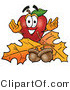 Stock Cartoon of a Smiling Red Apple Character Mascot with Acorns and Fall Leaves in Autumn by Toons4Biz