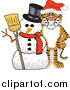 Stock Cartoon of a Tiger with a Snowman by Toons4Biz