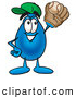 Stock Cartoon of a Water Drop Cartoon Character Catching a Baseball by Toons4Biz
