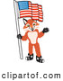 Stock Cartoon of an Outgoing Fox Mascot Cartoon Character Holding an American Flag by Toons4Biz