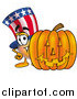 Stock Cartoon of Uncle Sam with a Carved Halloween Pumpkin by Toons4Biz