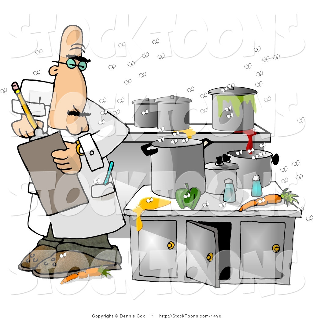 Messy Restaurant Kitchen: Stock Cartoon Of A Food Health Inspector In A Nasty