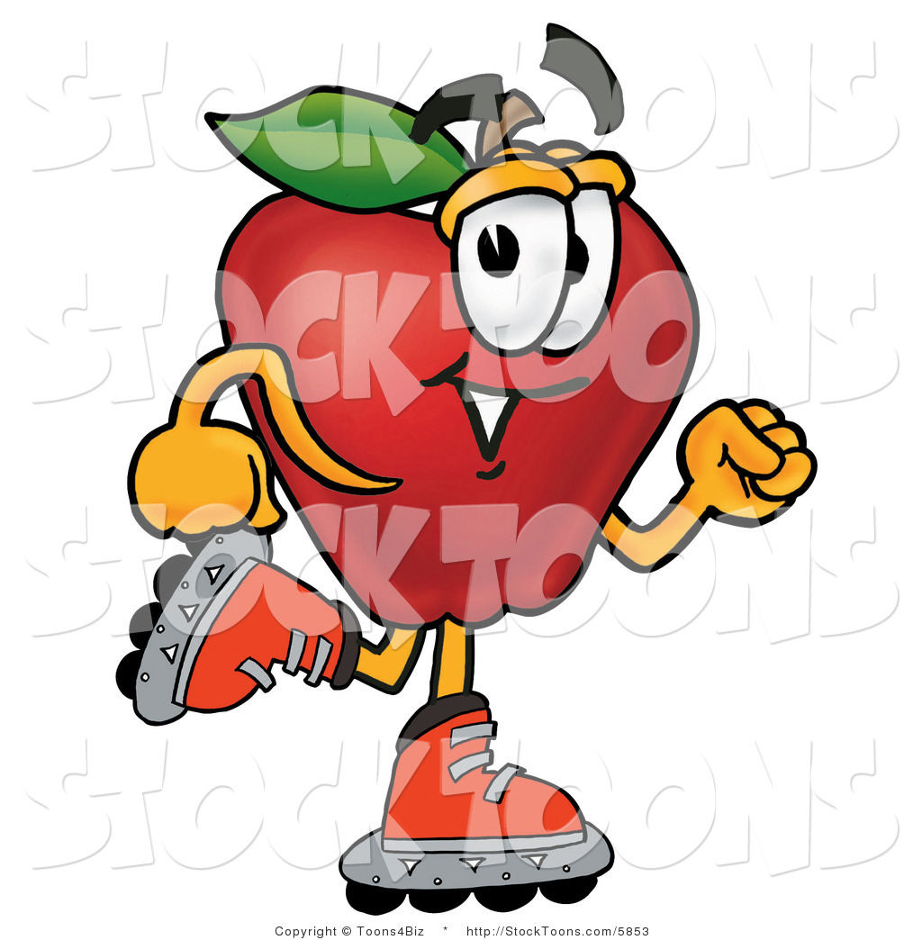 Stock Cartoon Of A Happy Red Apple Character Mascot Roller Blading
