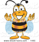 Stock Cartoon of a Cheerful Bee Mascot Cartoon Character Greeting with Open Arms by Toons4Biz