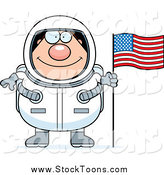 Stock Cartoon of a Chubby Happy Male Astronaut with an American Flag by Cory Thoman