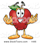Stock Cartoon of a Cute Red Apple Character Mascot with Open Arms While Greeting Someone by Toons4Biz