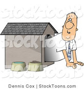 Stock Cartoon of a Man in the Doghouse by Djart